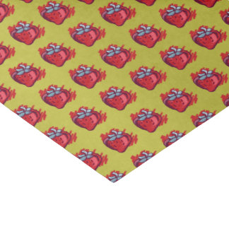 Strawberries On Gold Craft Items Tissue Paper