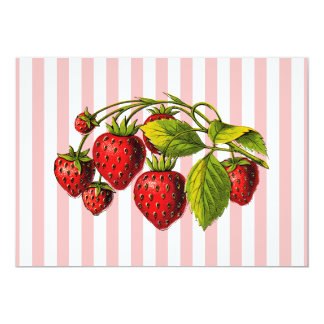 Strawberries on Pink and White Stripes Card