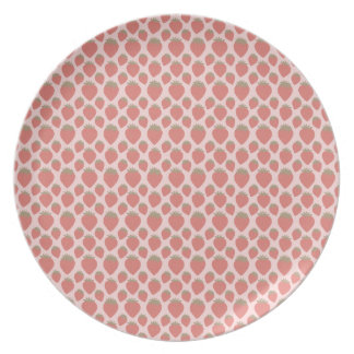 Strawberries on Pink Background Dinner Plate