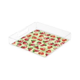 Strawberries pattern acrylic tray