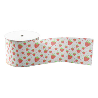Strawberries pattern grosgrain ribbon
