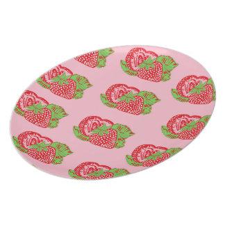 Strawberries Pattern Pink Plate