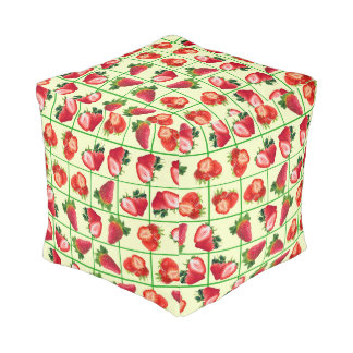 Strawberries pattern pouf