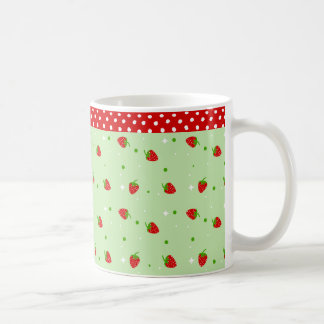 Strawberries Pattern with Green Background Basic White Mug
