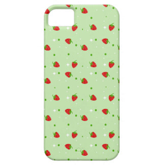 Strawberries Pattern with Green Background iPhone 5 Case