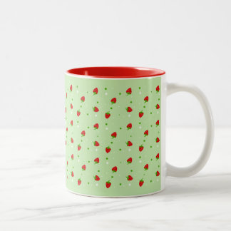Strawberries Pattern with Green Background Two-Tone Mug