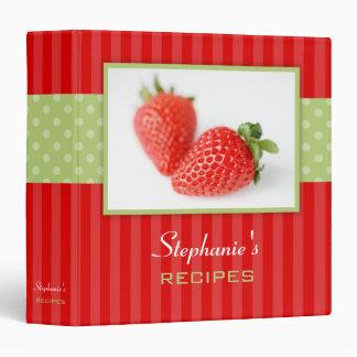Strawberries Polka Dot Stripe Recipe Vinyl Binders