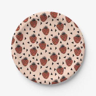 Strawberries Strawberry Blush Coral /Andrea Lauren 7 Inch Paper Plate