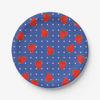 strawberries with dots 7 inch paper plate
