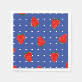 strawberries with dots disposable napkin