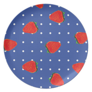 strawberries with dots plate