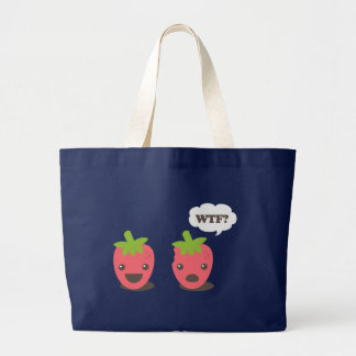 Strawberries (WTF?) Large Tote Bag