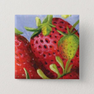 Strawberry 2 Inch Square Button