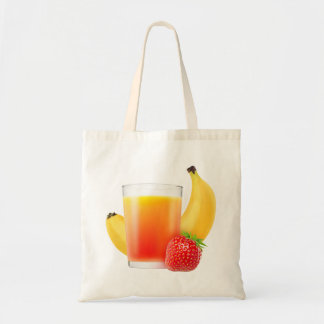 Strawberry and banana smoothie budget tote bag