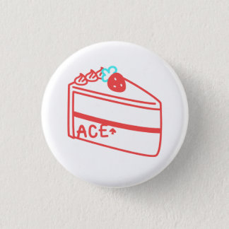 Strawberry Asexual Cake 1 Inch Round Button