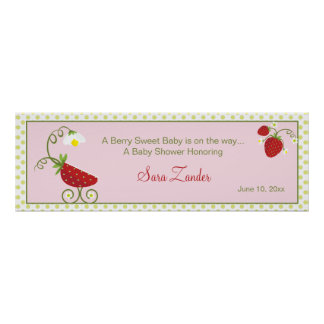 Strawberry Baby Carriage  |  Baby Shower Banner Poster