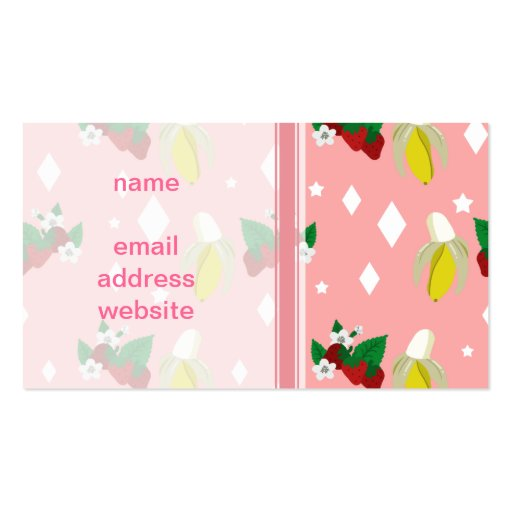 Strawberry Banana Pink Pattern Business Card Templates