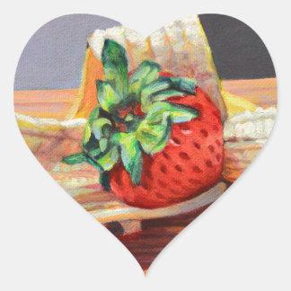 Strawberry Banana Split Heart Sticker