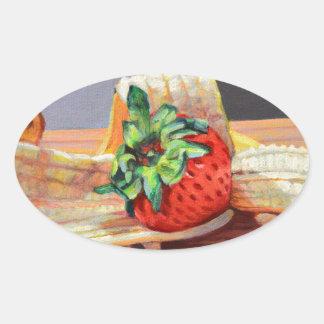 Strawberry Banana Split Oval Sticker