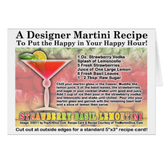 Strawberry Basil Martini Recipe Card