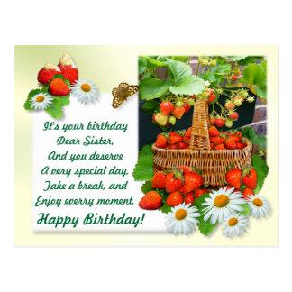 Strawberry Basket ~ Sister Birthday Postcard