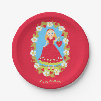Strawberry Birthday Party Girl 7 Inch Paper Plate