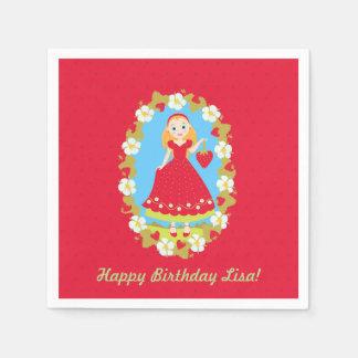 Strawberry Birthday Party Girl Disposable Napkins