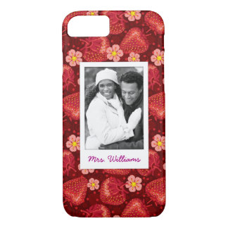 Strawberry Blossom Pattern | Monogram iPhone 8/7 Case