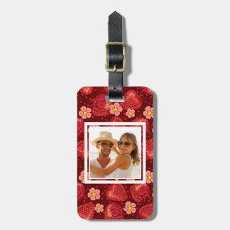 Strawberry Blossom Pattern | Monogram Luggage Tag