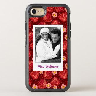 Strawberry Blossom Pattern | Monogram OtterBox Symmetry iPhone 8/7 Case