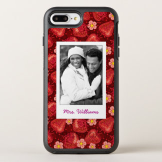Strawberry Blossom Pattern | Monogram OtterBox Symmetry iPhone 8 Plus/7 Plus Case