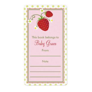 Strawberry Bookplate Shipping Label
