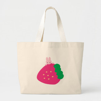 Strawberry Bunny Large Tote Bag