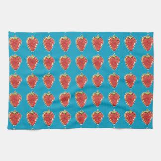 strawberry cartoon style illustration kitchen towel