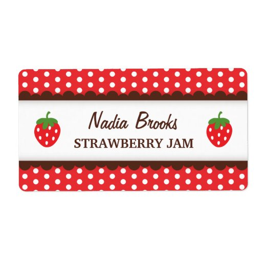 Strawberry chic red polka dots canning jar label