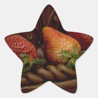 Strawberry Chocolate Cake Star Sticker