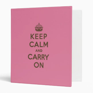 Strawberry Chocolate Keep Calm and Carry On Vinyl Binder