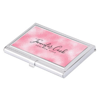 Strawberry & Cream Modern Faux Glitter Business Card Holder