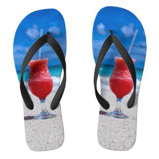 Strawberry Daiquiri Tropical Punch Caribbean Beach Flip Flops
