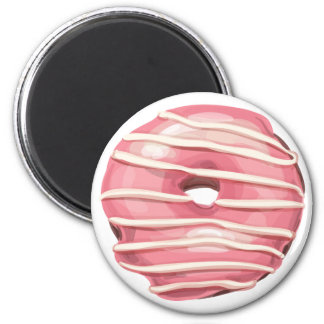 Strawberry Dipped Vanilla Striped Doughnut. 2 Inch Round Magnet