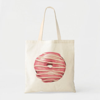 Strawberry Dipped Vanilla Striped Doughnut. Tote Bag
