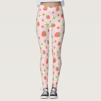 Strawberry Dots in Pink Leggings