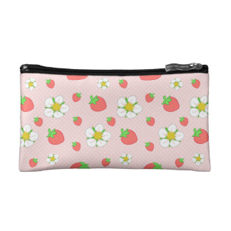Strawberry Dots in Pink Makeup Bag
