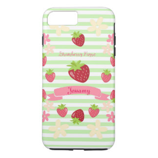 Strawberry Fayre Berry Floral Mint Stripe iPhone 7 Plus Case