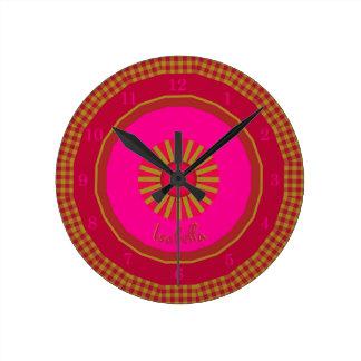 Strawberry Fields Checks Monogrammed Round Clock