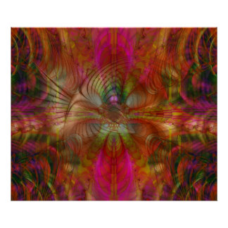Strawberry Fields Psychedelic Abstract Poster
