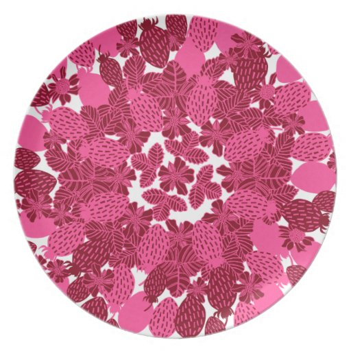 Strawberry Floral in Brown & Pink Party Plates