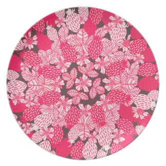 Strawberry Floral in Brown & Red Plates