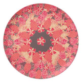 Strawberry Floral in Chocolate Red Dinner Plates