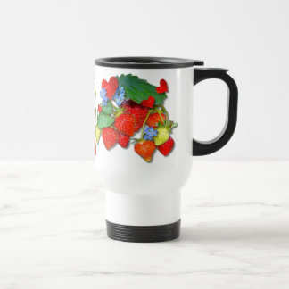 STRAWBERRY FLORAL ~  Travel/Commuter Mug